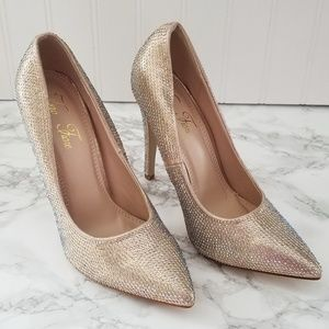 Shoes - Rhinestone Gold Champagne Pointed Toe Stiletto